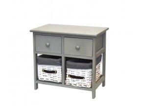 Komoda drevená 2-poschodová so šuflíkmi a košíkmi šedo sivá  PRISTINA