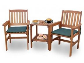 Záhradné drevené stoličky a stolík pre dvoch na balkón z tropického dreva