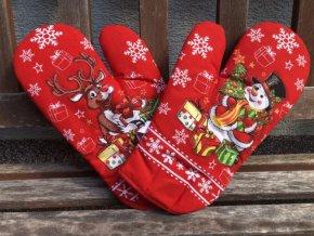 rukavice rod vianoce snehuliak cerveny 490x368