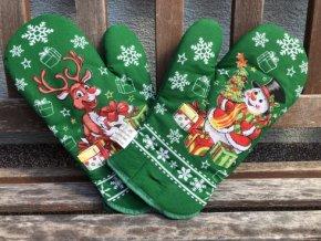 rukavice rod vianoce snehuliak zeleny 490x368