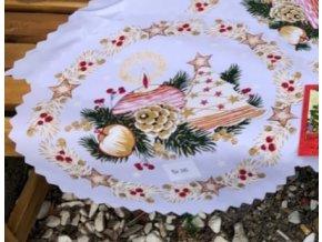 Vianočný biely okrúhly obrus s potlačou Lampášik - Sviečka a Stromček kruh priemer 36cm