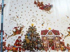PVC vianočný gumený obrus šírka 140cm Biely podklad ZLATÉ HVIEZDIČKY Santa s domčekom
