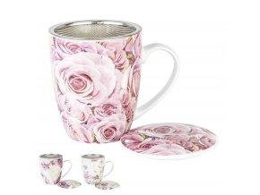 porcelánový hrnček s kovovým sitkom a prikrývkou na sypaný čaj 380ml s motívom Ruže
