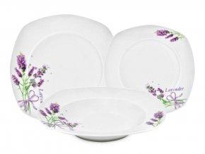 Levanduľová Porcelánová tanierová súprava 18-dielna sada hranatých tanierov s motívom Levanduľa