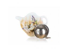 Čajová súprava na lúhovanie sypkých čajov - sitko na čaj a mini keramická tácka s motívom LEVANDUĽA