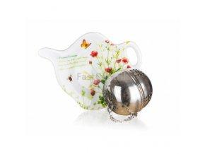 Čajová súprava na lúhovanie sypkých čajov - sitko na čaj a mini keramická tácka s motívom ČERVENÉ MAKY