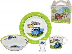 Detská súprava tanier 4-dielna darčeková súprava s motívom AUTA zeleno-modrá