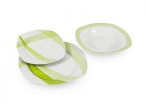 Porcelánová tanierová jedálenská súprava 18 dielna Bielo-Zelená hranatý tvar