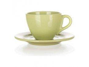 Zelená šálka s podšálkou na kávu šapó 200ml svetlo zelená AMANDE lesk