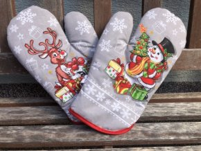 rukavice rod vianoce snehuliak sedy 490x368