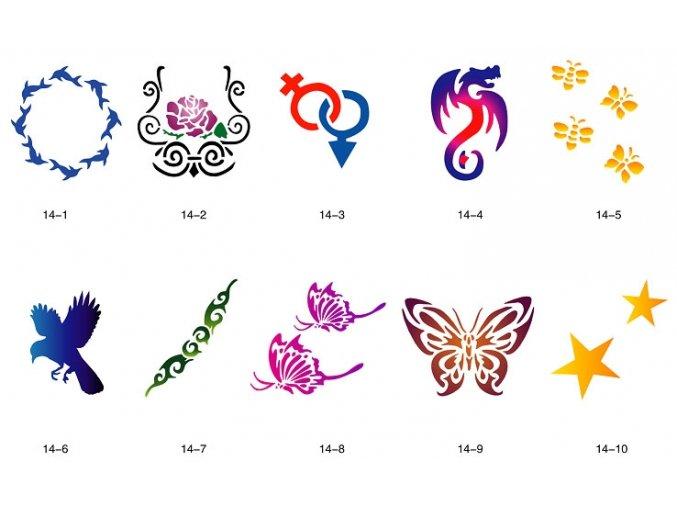 Sablon készlet a csillogó tetováláshoz Fengda S14