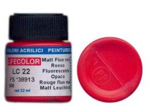 LifeColor LC22 basic matt fluorescent red szín