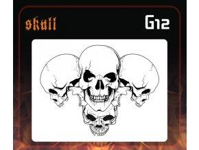 Airbrush sablon Group of skulls g12