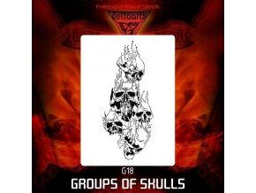 Airbrush sablon Group of skulls g18