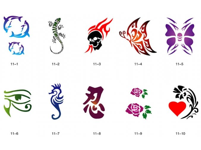 Sada šablón pre trblietavé tetovanie Fengda S11