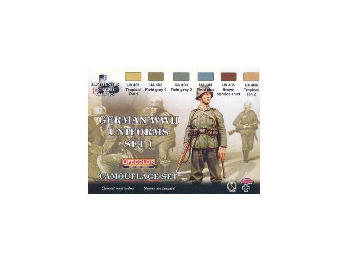 Set kamuflážnych farieb LifeColor CS04 GERMAN WWII UNIFORMS SET1