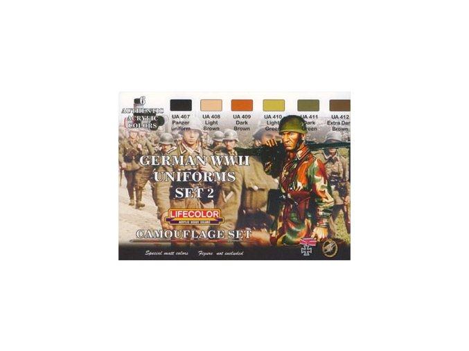 Set kamuflážnych farieb LifeColor CS05 GERMAN WWII UNIFORMS SET2