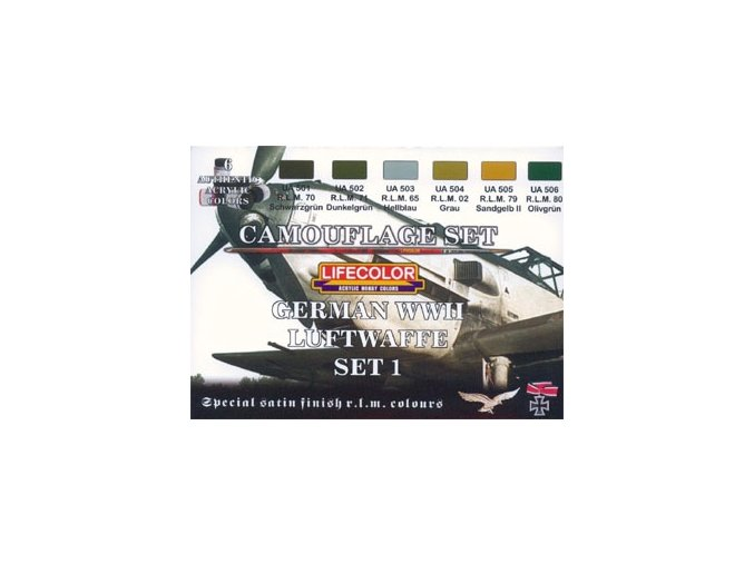 Set kamuflážnych farieb LifeColor CS06 GERMAN WWII LUFTWAFFE SET1