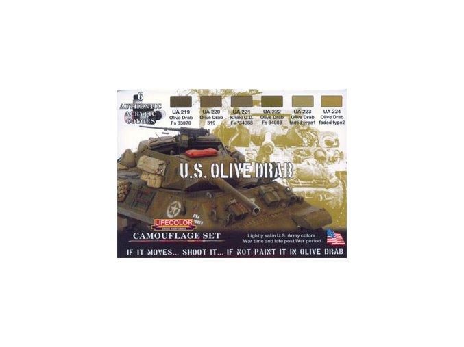 Set kamuflážnych farieb LifeColor CS11 U.S. OLIVE DRAB