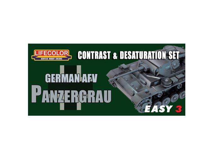 Set kamuflážnych farieb LifeColor MS02 GERMAN AFV PANZERGRAU