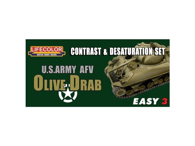 Set kamuflážnych farieb LifeColor MS03 U.S. ARMY AFV OLIVE DRAB