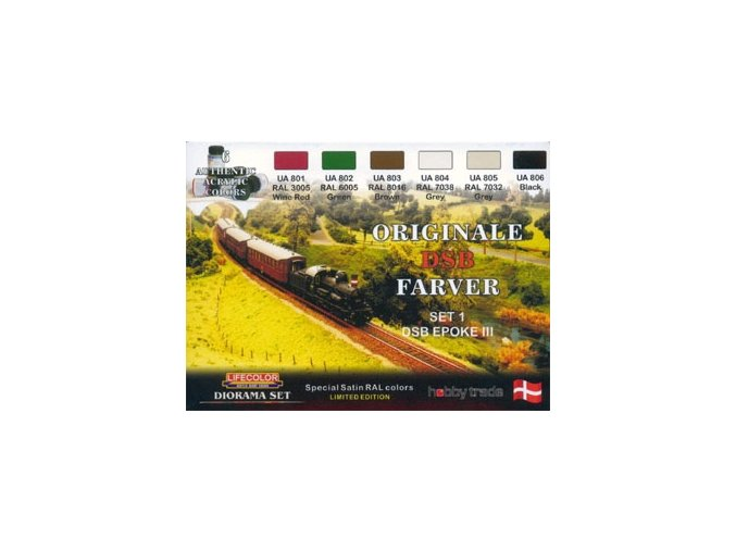 Set dioramatických farieb LifeColor XS03 ORIGINALE DSB FARVER SET1 DSB EPOKE III