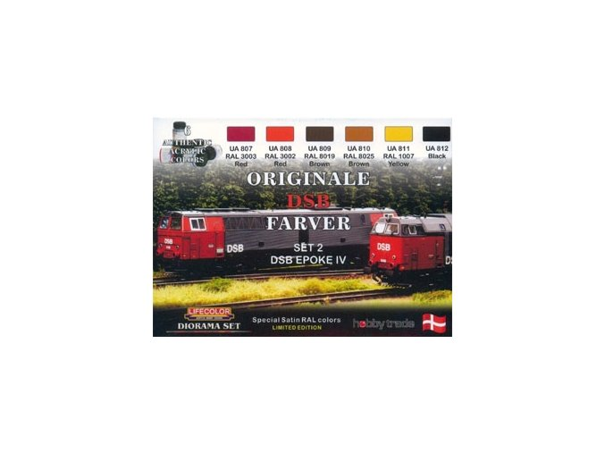 Set dioramatických farieb LifeColor XS04 ORIGINALE DSB FARVER SET2 DSB EPOKE IV