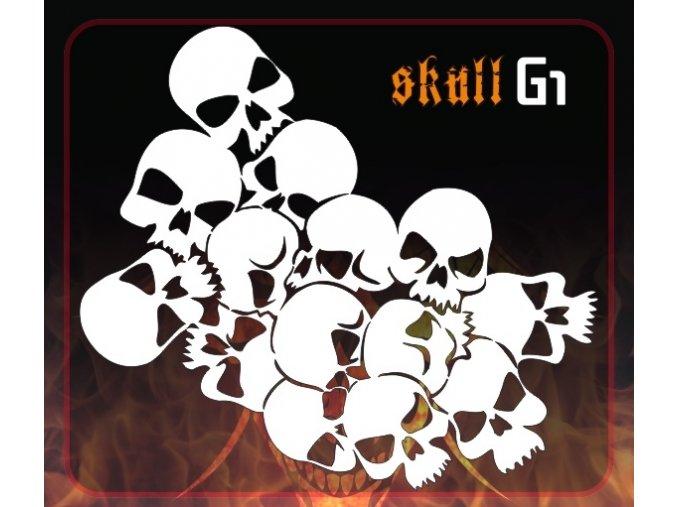 Airbrush šablona Group of skulls g1