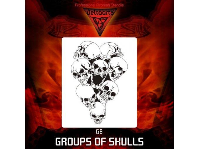 Airbrush šablona Group of skulls g8