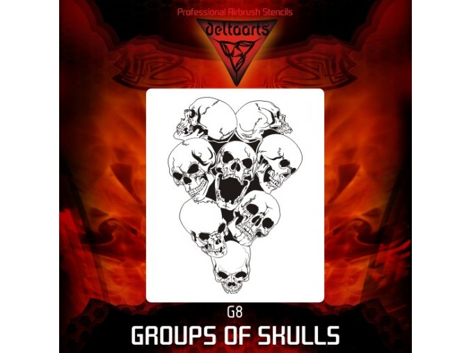 Airbrush šablona Group of skulls g8 mini