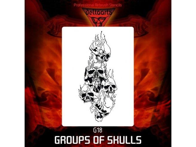 Airbrush šablona Group of skulls g18
