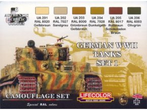 Set kamuflážnych farieb LifeColor CS01 GERMAN WWII TANKS SET1