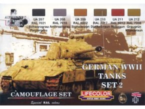Set kamuflážnych farieb LifeColor CS03 GERMAN WWII TANKS SET2