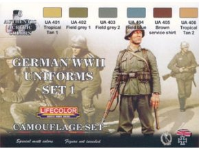 Set kamuflážnych farieb LifeColor CS04 GERMAN WWII UNIFORMS SET1