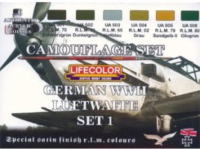 Set kamuflážnych farieb LifeColor CS06 GERMAN WWII LUFTWAFFE SET1