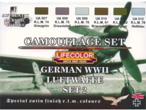Set kamuflážnych farieb LifeColor CS07 GERMAN WWII LUFTWAFFE SET2