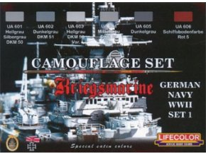 Set kamuflážnych farieb LifeColor CS09 GERMAN NAVY WWII SET1 Kriegsmarine