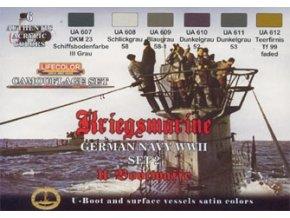 Set kamuflážnych farieb LifeColor CS12 GERMAN NAVY WWII SET1 Kriegsmarine u-Bootwaffe