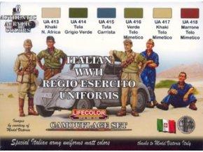 Set kamuflážnych farieb LifeColor CS14 ITALIAN WWII REGIO ESERCITO UNIFORMS