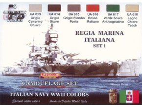 Set kamuflážnych farieb LifeColor CS15 ITALIAN NAVY WWII SET1 REGIA MARINA ITALIANA