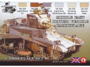 Set kamuflážnych farieb LifeColor CS16 MIDDLE EAST BRITISH VEHICLE CAMOUFLAGE