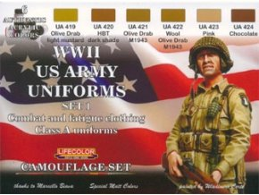 Set kamuflážnych farieb LifeColor CS17 WWII US ARMY UNIFORMS SET1 Combat and fatigue clothing Class A uniforms