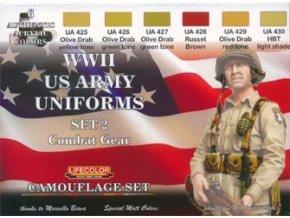 Set kamuflážnych farieb LifeColor CS18 WWII US ARMY UNIFORMS SET2 Combat Gear