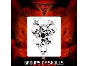 Airbrush šablona Group of skulls g8