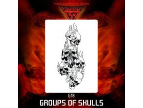 Airbrush šablona Group of skulls g18