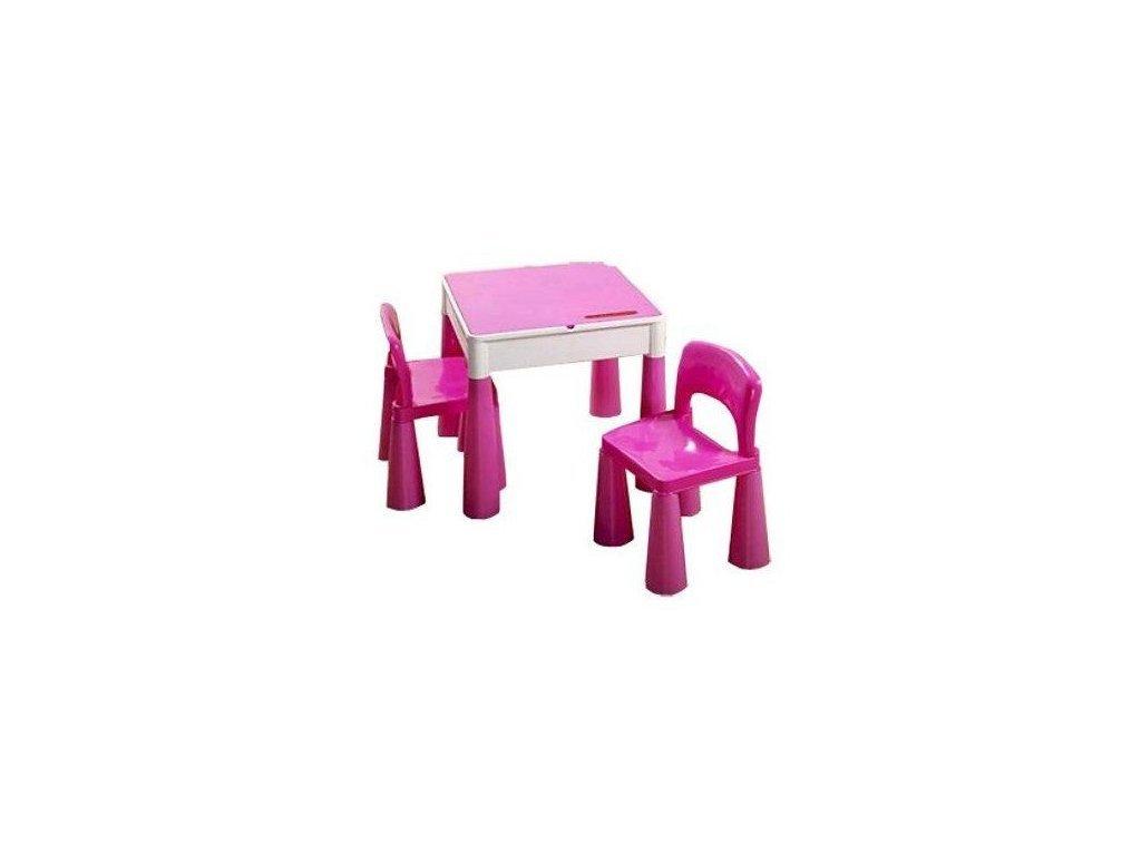 Tega Mamut dětská sada stoleček a dvě židličky růžová