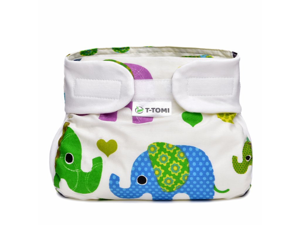 T-TOMI Ortopedické abdukční kalhotky - suchý zip, green elephants (3-6kg)