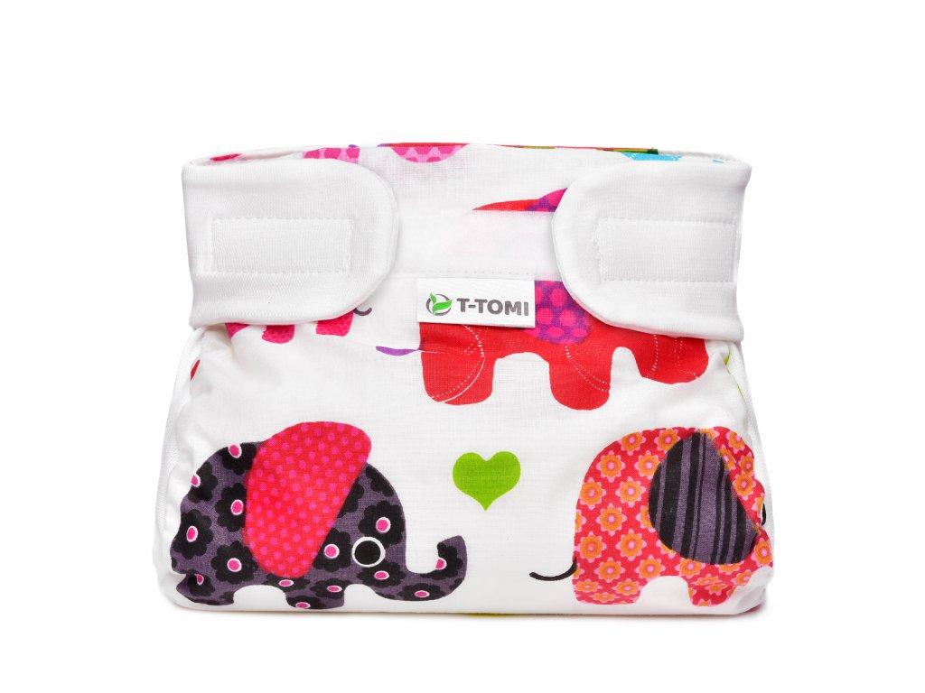 T-TOMI Ortopedické abdukční kalhotky - suchý zip, pink elephants (5-9kg)