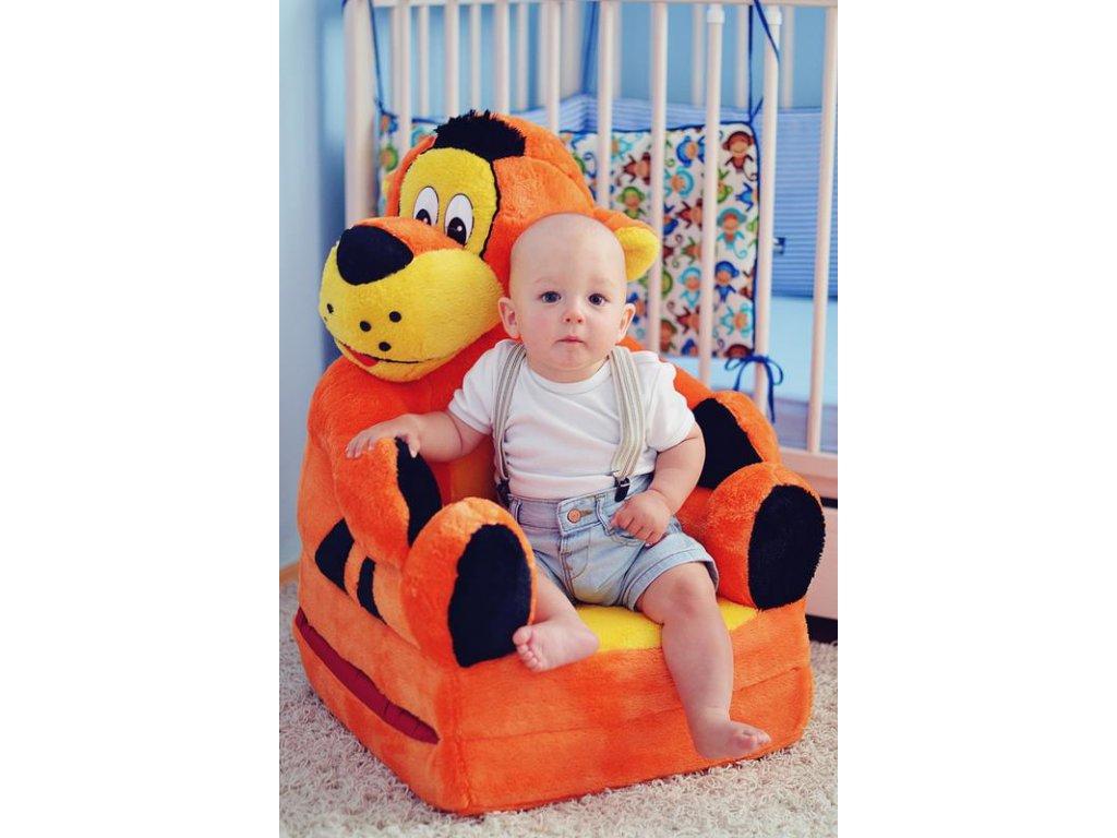 Dětské plyšové křesílko Smyk 2v1 Tygr