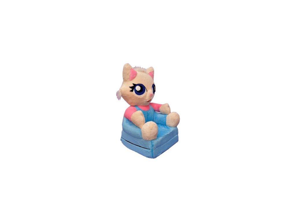 Dětské plyšové křesílko Smyk 2v1 Kočička modrá